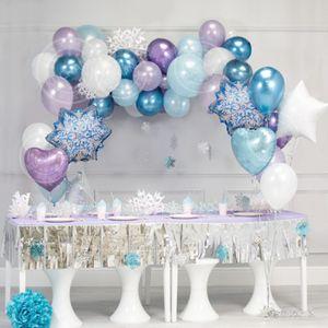 35pcs Ice Princess Party Decoration Christmas Snowflake Foil Balloons Birthday Party Ballon Decor Girl Wedding Winter Party T200612