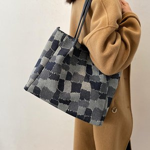 Женщины Большие повседневные Tote Bags Высокое Качество Холст Покупатель Покупатель Сумка Сумка Сумка Леди Хит Цвет Сумка Crossbody Grand Sast
