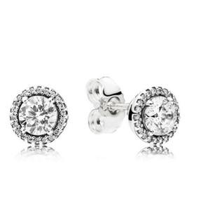 Authentic 925 Silver Diamond Stud Pendientes de lujo DISEÑADOR PENDIENTES PARA PANDORA PENDIENTE DE AMOR CON LA CAJA ORIGINAL