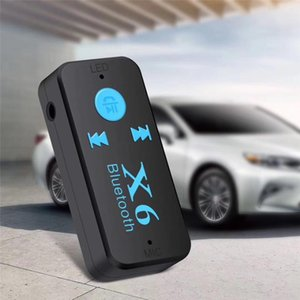 100 sets X6 4.1 EDR Bluetooth 4.1V Aux Audio Receiver Adapter 3.5mm Handsfree Car Kit TF Card Play A2DP Mp3 Music Receiver
