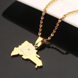 Edelstahl Der Dominikanische Karte hängende Halskette für Frauen Karte von Dominikanische Kette Schmuck