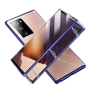 Full Body Metal and Glass Magnetic Phone Case for Samsung S21 S21 Plus Tempered Glass Bumper Hard Cover Double-Sided Glass Case