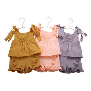 Kids Clothes Girls Outfits Infant Sleeveless Sling Solid Color + Lace Short Pants 2pcs sets Fashion 2021 Summer Baby Clothing Sets