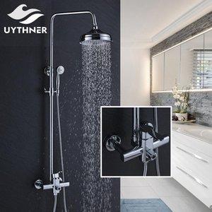 Recém-chuvas 8 polegadas Chuveiro Bath Shower Mixer torneira do chuveiro Set Faucet Com Mão Chrome Polido bbyvmL hotclipper