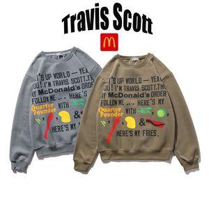 Travis 가을과 겨울 플러스 벨벳 라운드 넥 남성과 여성을위한 긴팔 스웨터