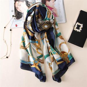 [Peacesky] 2020 Mode bandana Chaînes de luxe Imprimer Scarve bleu et blanc Femme Marque 100% Foulard en soie femmes Châle Imprimer hijab