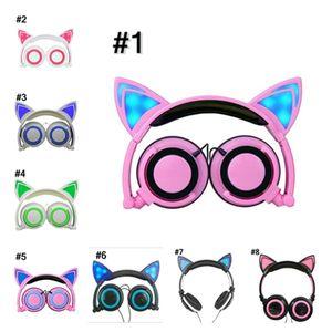 New children's cartoon cat ears headset luminous folding mobile phone music headphones head-mounted headset Multicolor optional