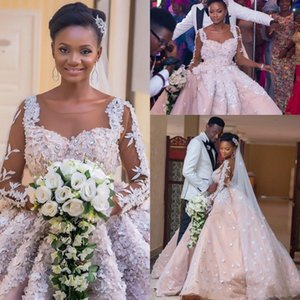 2021 Gorgeous 3D Flowers Wedding Dresses African Plus Size Sheer Neck Long Sleeves Bridal Gowns Ruched Beaded Vestidos Ball Gown AL7328