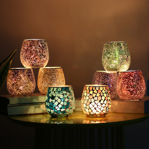 Dia Decoração Candle Lantern Crystal Glass Mosaic Candle Holder Início Tabela Decoração Candle Holder casamento dos Namorados