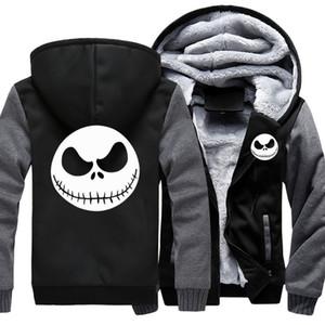 Men's Thicken Hoodie Nightmare Before Christmas Jack Skellington Zipper Jacket Sweatshirts Coat Long Sleeve Casual Warm Hooded X1022