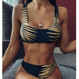 Micro Bikini 2020 Gold Leaf Print Swimsuit Female High Cut Black Bathing Suit Swim Beach Wear Women Swimwear Solid Black Biquini