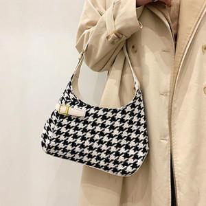 Retro Niche Bag Women's 2021 NUEVO Tweed Tweed Mil Lattice Bag Bag Amplio portátil de gran capacidad