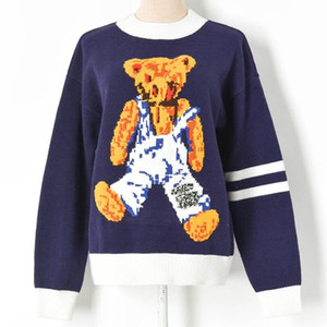 Sweater Women Vintage Teddy Bear Pattern O-neck Hip Hop Streetwear Harajuku 2020 Autumn New Sweter Pullover Female Sweaters w1234