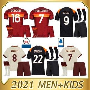 2020 de Rossi Dzeko Totti Perotti Pellegrini Kolarov Zaniolo Pastore 2021 adulto Kit Kit + Meias Home Away Camisa de Futebol de Alta Qualidade