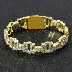 13mm 7 8inch Hip Hop Bracelet Chains Gold Plated Iced Out CZ Butterfly Bracelet Chains Fashion Rapper Bracelets Male Jewelry Gift