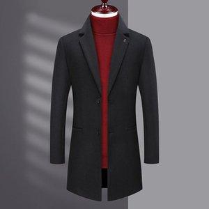 média cor pura lã casaco homens novo e moda de lazer comprimento médio blusão casaco de desgaste dos homens dos jovens