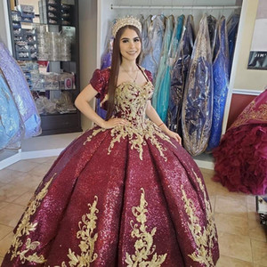 Burgundy Beaded Ball Gown Quinceanera Dresses with jacket Beads Sweet 16 Dress Pageant Gowns vestido de 15 anos años quinceañera