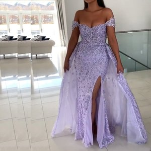 Lilac Side Split Mermaid Evening Dresses Off the Shoulder Bead Lace With Detachable Celebrity Gowns Overskirt Evening Gown