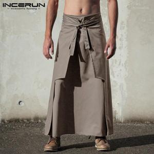 Medieval Hombre Kilts Artes marciales Estilo Pantalones de estilo guerrero Knight Kilt Kendo Faldas Solid Pantalones Hombres Vintage Incerun1 Men's