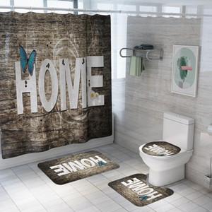 منزل الخشب المشارب نمط دش الستار البوليستر حمام ماء ستائر البساط مجموعات غطاء المرحاض حصيرة مجموعة