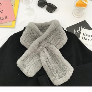 Designer Rex fur scarf female winter wild solid color cross plush woven scarf thickened