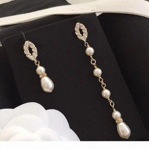 New Products Pendant Earrings Chain Pearl Fashion Earrings S925 Silver Needle Earrings High Quality Jewelry Supply