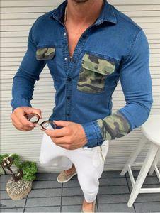 Hommes Designer Demin Shirts avec boutons Fashion Camouflage à manches longues de camouflage à manches longues Spring Hommes et Tops d'été
