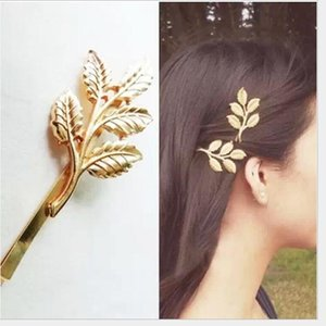 Top Design Fashion Golden Alloy leaves Hair Head jewellery Hairpin Gift 3D Leaves Hair Clips Barrettes Side clips Wedding Fresh ps2323