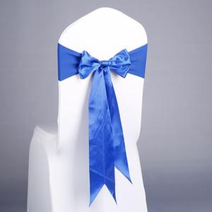 17 Couleurs Spandex Chaise Chaise Sashes Gratuit Lace-up Élastique Chaise Chaise Chair Band avec arc de soie pour l'événement Fête Decoration de mariage Fournitures HWC3456