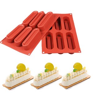 6 Holes Long Strip Silicone Mold Mousse Cake Molds Chocolate Soap Mould Biscuit Cookie Baking Pan Kitchen Bakeware Accessories T200703