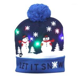 القبعات الصمام ضوء عيد الميلاد قبعة عيد الميلاد عطلة عيد الميلاد سانتا الدافئة محبوك الشتاء أضواء snapback وامض كاب 20211