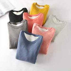 Women Thick Fleece Sweatshirt Winter Velvet Warm Slim Sweatshirts Casual O neck Underwear Fleece Lady Top Sudadera Mujer