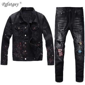 Sonbahar Kış 2020 Erkekler Siyah Kot Takım Elbise Set Yüksek Sokak Erkek Kıyafet Boya Sprey Denim Ceket + Streç Kot Erkek 2 Parça Set 1022