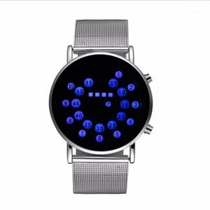 Moda Binary Horloge Mannen 2018 Guarda gli uomini Orologio Digital LED Orologi in acciaio inox Unico Binary Clock1