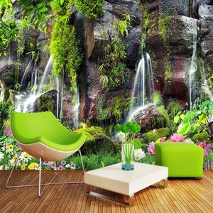 Custom 3D Wallpaper Garden Waterfall Scenery Photo Wall Murals Living Room TV Sofa Bedroom Background Wall Self-Adhesive Fresco