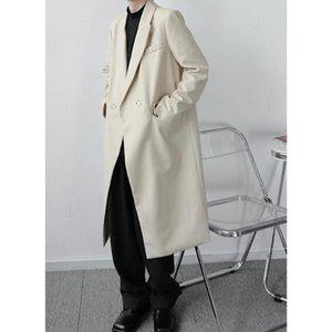 Мужчины Винтажная Мода Повседневная Длинные Стиль костюм пальто Верхняя одежда Мужской Япония Корея Streetwear ретро Trench куртка Шинель