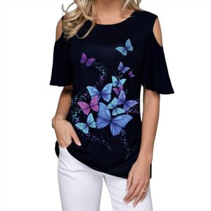 Women Summer 2020 Tshirt Casual Short Sleeve Tops Tees Sexy Off Shoulder Butterfly Print T Shirt O Neck Plus Size 5XL Shirts