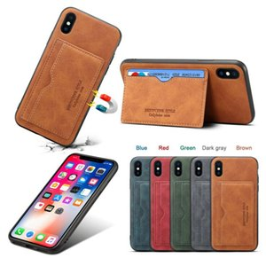Plug-in Mobile Phone Shell Protective Leather Case For Cellphone Card Storage Card Holder Cellphone Function Leather Back Cover OWC2760