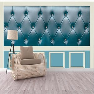 3d stereo simulation leather wallpapers abstract blue soft bag background wall mural 3d stereoscopic wallpaper