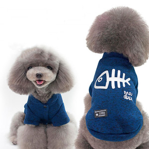 Cute Dog Clothes Fashion Thickened Warm Autumn Winter Fish Bone Cotton Coat Costume Clothes Two Legs Lovely Pet Clothes VTKY2292