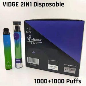 Autentico Vidge 2in1 Dispositivo di pod monouso 950mAh Battery 2000 Blows 6% 6ml Premilled Vape Pen Kit GRATIS DHL 11 Opzioni