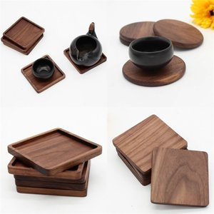 블랙 호두 나무 코스터 레트로 절연 컵 매트 가정용 사각형 둥근 코스터 절연 패드 테이블 장식 DHA3068