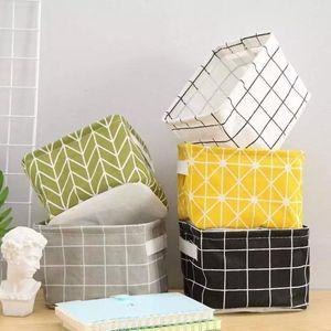 Plaid Storage Box Bin Desk Sundries Folding Storage Organizer Cartoon Printing Bags Container Basket Bucket Organizer Laundry Bag AHA1031