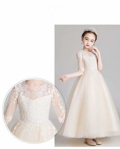 champagne ankle-length lace Pretty Flower Girl Dresses vestidos lace Baby Girl Infant Dress Kids Formal Wear girls dress