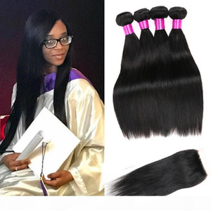 Brazilian Virgin Human Hair Bundles With Closure Brazilian Straight Hair Weaves With Lace Closure Human Hair Weave