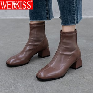 WETKISS High Thick Heels Women Ankle Boot Female Square Toe Zip Ladies Pu Casual Shoes Autumn Winter Boots Big Size 33-43 201020