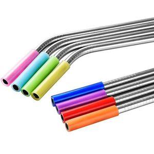 Geniş Payet Silikon Tüpler Straw Kapak 6mm için Straw Silikon Payet İpuçları Fit İçme Silikon İpuçları Kapak Tipi Paslanmaz Çelik