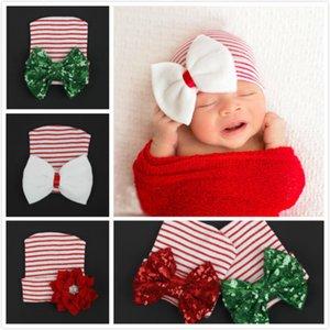 Девочка новорожденного мальчика крючком вязать полосатые Блестки Шляпы Bow Cap Рождество Beanie Headwear подарков Wq5l WQ5L