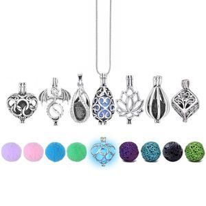 Диверсификация Войлок Glow Balls Lava Stone Ароматерапия Античный Vintage Ожерелье Locket Духи Эфирное масло Диффузор ожерелье