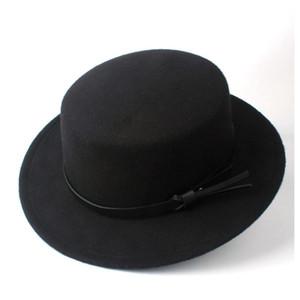 Женщины Мужчины Шерсть Flat Top Hat Открытый Хомбург Путешествия Повседневный Wild Boaters Hat Широкий Брим Размер 56-58cm